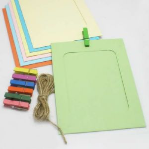 Picture frames Set of materials, Paper, green, Yellow, 15.5cm x 11.5cm, 7 sheets, [ZPQ0002]